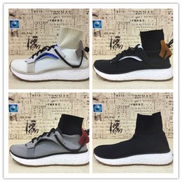 Wholesale Fabric Cleaning - 2017 High-quality Wang AW Run Clean All White Solid Grey Core Black BOOST For Men&Women Sock Trainer High Quality Running Shoes