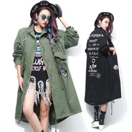 Wholesale Zipper Design Trench Coat - Wholesale- TREND-Setter 2017 Spring Fashion Army Green Women Black Long Trench Coat with Rivet and Patch Designs Loose Trenchcoat femme