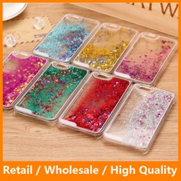Wholesale Flow Clear - Cell Phone Accessory Flowing Sand Dynamic Liquid Glitter Bling Start Clear Hard PC Case for iPhone 6 6s 6PLus 6sPlus Samsung S6