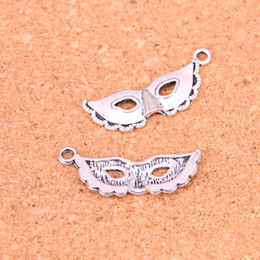 Wholesale Handmade Masquerade Masks - 87pcs Antique Silver Plated party mask masquerade mardi gras Charms Pendants for European Bracelet Jewelry Making DIY Handmade 31*12mm