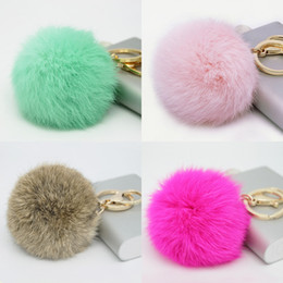 Wholesale Cute Girl Fairy - Wholesale Cute Genuine Leather Rabbit fur ball plush key chain for car key ring Bag Pendant car keychain