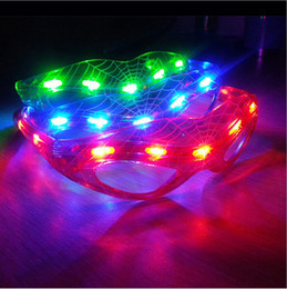 Wholesale Rave Mask Wholesale - LED Spiderman Glasses Flashing Glasses Light Party Glow Mask Christmas Halloween Days Gift Novelty LED Glasses Led Rave Toy Party Toy