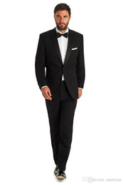 Wholesale Pleated Wool Pants - man wedding suits wool bleed high quality for groom wear black suits dinner 2016 free shipping