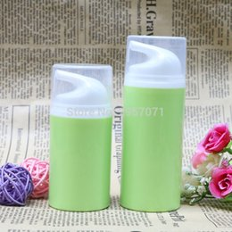 Wholesale Green Bottle Lotion - Green Empty Airless Pump Plastic Bottles 50ml 80ml Emulsion Bottle Lotion On Travelling Cosmetic Packaging 10pcs lot Free Ship