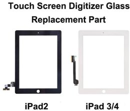 Wholesale Home Button Sticker White - For iPad 2 3 4 Touch Screen Glass Digitizer Assembly with Home Button & Adhesive Glue Sticker Replacement Repair Parts Black and White