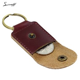 Wholesale Leather Handmade Key Ring - Smirnoff 2017 Genuine Leather Coin Purse With Ring Creative Handmade Key Wallet Lucky Coins Pocket Mini Key Holder With Ring