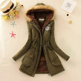 parkas for winter Coupons - Wholesale-2015 Long Parkas Female Women Winter down Coat Thickening Cotton Winter women Jacket Hooded coat Outwear Parkas for Women Winter