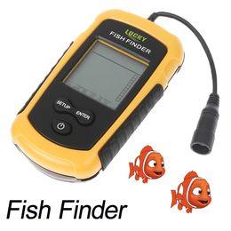 Wholesale Portable Fish Light - 100m Portable Sonar Sensor Boat Fish Finder Fishfinder LED Back-lighting Alarm Beam Transducer H1863