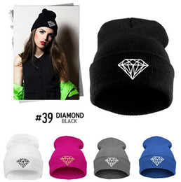 Wholesale Logo Knit Caps - FG1509 [Magic] 2014 Hot big diamond logo women men casual cotton Knitted hat Hip hop dance Hat Caps fashion Skullies & Beanies 9colors