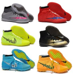 Wholesale Cheap Band Shoes - Elastico Superfly IC FG Shoes soccer High Ankle cleats Men football turf shoes,cheap Indoor soccer boots Free Shipping