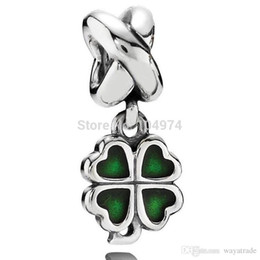 Wholesale Silver Clover Bead Charms - Hot Sale Wholesale Green Four Leaf Clover Pendant Charm 925 Silver European Charm Bead Fit Snake Chain Bracelet DIY Jewelry Free Shipping