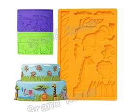 Wholesale Silicone Monkey Mould - Brand New DIY Zoo Animals Monkey Giraffe Childrens Birthday Fondant Silicone Cake Mould Excellent Quality