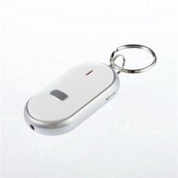 Wholesale Wholesale Whistle Keychain Finder - 1PC White LED Key Finder Locator Find Lost Keys Chain Keychain Whistle Sound Control Newest