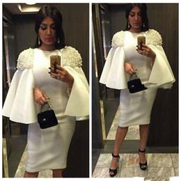 2019 vestidos de fiesta mujer dubai De bata de cóctel blanco Dubai Vuelos fiesta Vestidos árabes las mujeres que rebordean la manga corta recta corta de baile vestidos formales vestido de Oriente Medio vestidos de fiesta mujer dubai baratos