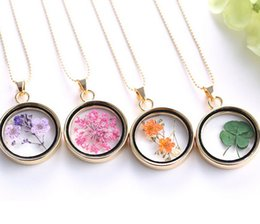 Wholesale Real Shamrock - Fashion Four Leaf Clover Shamrock Real Dry Flower Necklace Assorted Pressed Botanical Circle Pendant Lucky Charm Floating Locket