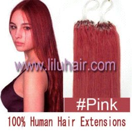"""Wholesale Cheap Bead Hair Extensions - Cheap 18"""" 50g pack Natural Silky Straight Micro Loop Ring Beads Hair Extension #pink 100s diy micro ring extensions"""
