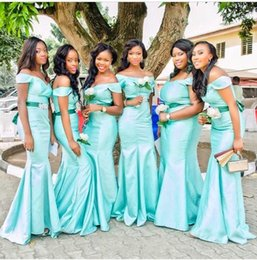 Wholesale Mint Taffeta Dress - Mint Green Mermaid Long Bridesmaid Dresses 2015 Off Shoulder Ruched Taffeta Fabric Sash Beaded Trumpet Simple Party Gowns Custom made