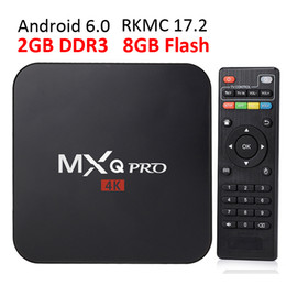 Wholesale Black Box Uk - Rockchip MXQ Pro Android TV Boxes 2018 Genuine 2GB 8GB MXQ PRO Android Box with RKMC 17.4 fully loaded processor RK3229 S905W