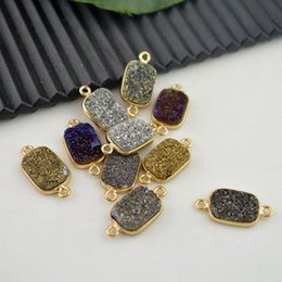 Wholesale Rectangle Cube - lovely 10pcs Gold Plated Edge Rectangle Druzy Quartz Stone Connectors Bead Fit Bracelet