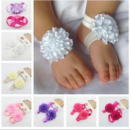 Детские ножные ленты онлайн-бесплатная доставка Детские босоножки сандалии детские ленты Луки Детская обувь ручной работы носки девушки ноги цветы