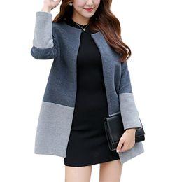 Wholesale Womens Grey Winter Coats - 2016 Fashion Elegant Women Long Coat Wool Patchwork Single Botton Slim Grey Coat Oversized S-2XL Womens Winter Jackets and Coats