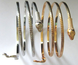 Wholesale Gold Snake Arm Cuff - Gold Silver Plated Coiled Snake Spiral Bangles Jewelry Upper Arm Cuff Bangle Bracelet Armlet For Men &Women Punk Jewelry JD