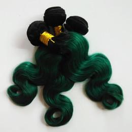 Maquina de plumas online-Trama europea del pelo Pluma femenina de la manera Extensiones atractivas y de la belleza del pelo de la India ombre Máquina doble trama Dos tonos 1B / verde 3 4 5Bundles