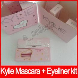 Wholesale Halloween Mascara - Hot kylie 2 in 1 mascara set eyeliner birthday edition 3D Fiber Lash Mascara+ Eyeliner Kyliner Waterproof i want it all Makeup Black