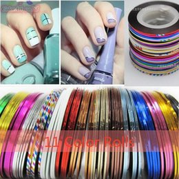 Wholesale 2d Nails - Fashion Beauty100pcs Multicolored Rolls Striping Tape Line DIY Nail Art Tips Decoration Sticker