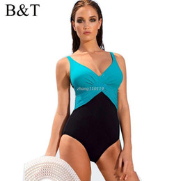 Wholesale Swim Suits Bottoms - M~4XL One Piece Swimsuit Hot Swim Wear Bodysuit Beachwear Bathing Suit Triangle Bottom High Waist Plus Size Swimwear Women