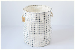Wholesale Storage Baskets Cotton - The naive blue squares storage bucket no beam circle barrels cotton storage box small storage baskets home cloth storage bucket