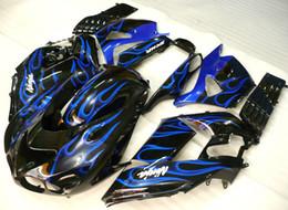 Wholesale Zx14 Fairings - 7gifts!! Fairing kit for KAWASAKI Ninja ZX14R 06 07 11 ZX 14R 2006 2007 2010 2011 ZX-14R blue flames black Fairings bodywork GH10