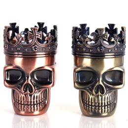 Wholesale King Crowns Wholesale - Tobacco Herb Grinder Crusher 3 Layers King Skeleton Skull Crown Novelty Metal Bronze Brass Spice Dry Herbal Grinder Muller