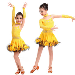 Wholesale Latin Dancewear - 6pcs lot Girls Lace Embroidered Latin Dance Dress Single Sleeve Silms Dresses Kids Rumba Cha-cha Tango Dancewear tls303