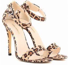 Wholesale Size Leopard Print Heels - Wholesale-BIG SIZE 2015 Women Heels Leopard Print Pumps Sexy Shoes High Heel Shoes Woman Brand Pump Gold Silver Sandals Female L152