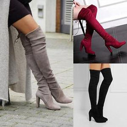 Wholesale Longs Boots - H 48 cm Winter Women Fashion Boots High Heels Over-the-knee Faux Suede Thicken Slip-on Long Boots Dress Shoes Large Size Eu 35-43 7S