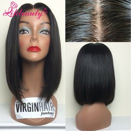 Wholesale Peruvian Virgin Silky Natural Curly - 2015 New! Brazilian Human Hair Silky Straight Bob Wigs Short Bob Glueless Lace Front Wigs With Baby Hair Around The Perimeter