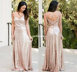 Wholesale Spaghetti Strap Sheath - 2018 Modest Spaghetti Straps Bridesmaid Dresses Sheath Rose Gold Sequins Cheap Maid Of Honor Wedding Guest Gown Formal Evening Dresses