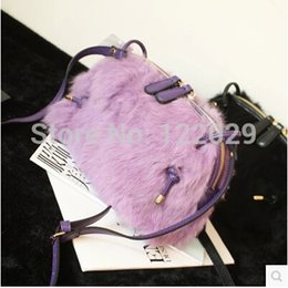 Wholesale Euro Style Bag - Wholesale-Free shipping Euro & American style fashion women's messenger bags colors Rabbit fur PU shoulder bag small shell hairy