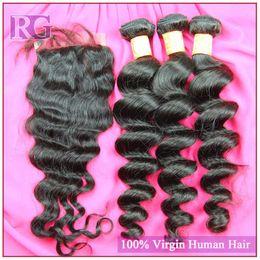 Wholesale cheap 5a brazilian hair - 5A Cheap and quality 3bundle & a closure Loose wave hair Brazilian Peruvian Malaysian Indian Virgin Hair Unprocessed human hair extension