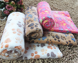 Wholesale Pet Warming Blanket - Cute Warm Pet Bed Mat Cover Small Medium Large SizeTowl Paw Print Cat Dog Fleece Soft Blanket Puppy Winter