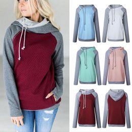 Wholesale Hoodie Double Zipper - Double Color Zipper Stitching Hoodies Women Long Sleeve Patchwork Pullover Winter Women Jacket Sweatshirts Jumper Tops 60pcs OOA3397