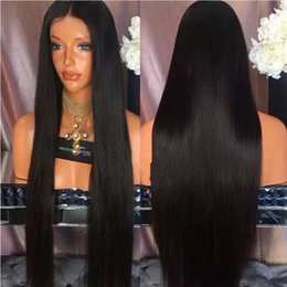 Wholesale Long Parted Wigs - Natural Black 1b# Middle Part Long Silky Straight Synthetic Full Wigs Heat Resistant Synthetic Lace Front Wigs for Black Women