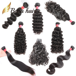 Rizado cabello humano de 34 pulgadas online-Bella Hair® Muestra al por menor 8-34 pulgadas Paquetes de cabello humano sin procesar Onda de cuerpo recto Onda de agua rizada profunda suelta Onda natural