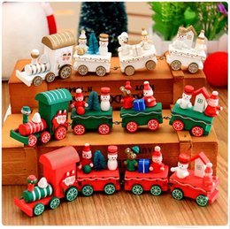 Wholesale Mini Toy Train - Wooden Christmas Xmas Train Decoration Decor Gift Mini Christmas Train Wooden Train Model Vehicle Toys for Chidlren c289