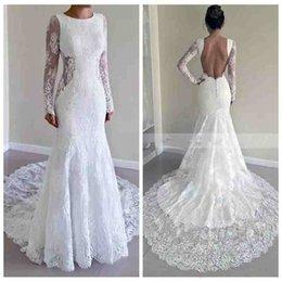 Wholesale Tulle Skirt Slim - Modest Royal Full Lace Wedding Dresses Mermaid Backless Court Trian White Beach Bridal Gowns Vestido De Noiva Custom Slim Long Sleeves