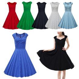 Wholesale Cheap Women Robes - Wholesale-Hot New 2016 Summer Women Casual Dresses Retro Party Robe Rockabilly 50s Black Vintage Dress Plus Size Vestidos Cheap free ship