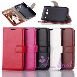 Wholesale Galaxy 4g Cases - G357 Retro Crazy Horse Leather Case For Samsung Galaxy Ace 4 Style LTE 4G G357 Stand Leather Wallet w  Card Slots