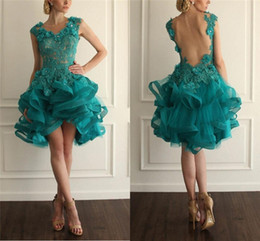 Wholesale Peacock Ball Dress Tulle - Charming Peacock Green Homecoming Dresses Lace Applique Beads Ball Gown Party Dresses Backless Draped Organza Short Cocktail Dress