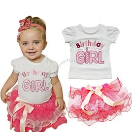 Wholesale First Birthday Outfits - Baby Clothes 1st First Birthday 2016 Baby Girl Outfit Top Tutu Skirt Princess Flower Party Dress Kids Clothing